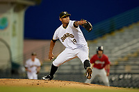 Bradenton Marauders relief pitcher Luis Escobar (19) during a Florida State League game against the Fort Myers Miracle on April 23, 2019 at LECOM Park in Bradenton, Florida.  Fort Myers defeated Bradenton 2-1.  (Mike Janes/Four Seam Images)