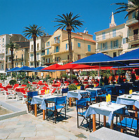 France, Corsica, Calvi: Restaurants in Harbour | Frankreich, Korsika, Calvi: Restaurants im Hafen