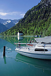 Yachts moored in Lake Plansee near Reutte, Austrian Alps.