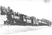 RGS 2-8-0 #42 with freight near Franklin Junction.  #41 is the pusher on the rear.<br /> RGS  Franklin Junction, CO  Taken by Kindig, Richard H. - 7/4/1938