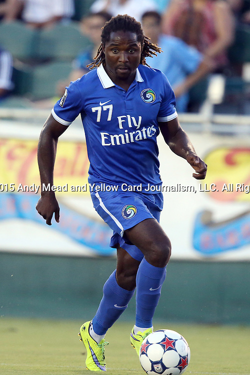 22 August 2015: New York's Lucky Mkosana (ZIM). The Carolina RailHawks hosted the New York Cosmos at WakeMed Stadium in Cary, North Carolina in a North American Soccer League 2015 Fall Season match. Cosmos won the game 3-1.