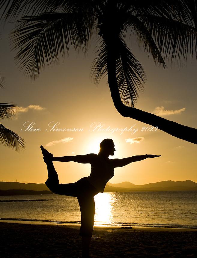 Yoga silhouette<br /> St. Croix, US Virgin Islands