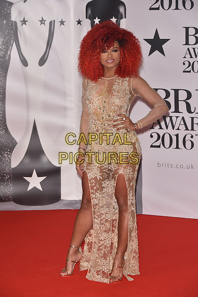 LONDON, ENGLAND - FEBRUARY 24:  Fleur East attends the BRIT Awards 2016 at The O2 Arena on February 24, 2016 in London, England<br /> CAP/PL<br /> &copy;Phil Loftus/Capital Pictures
