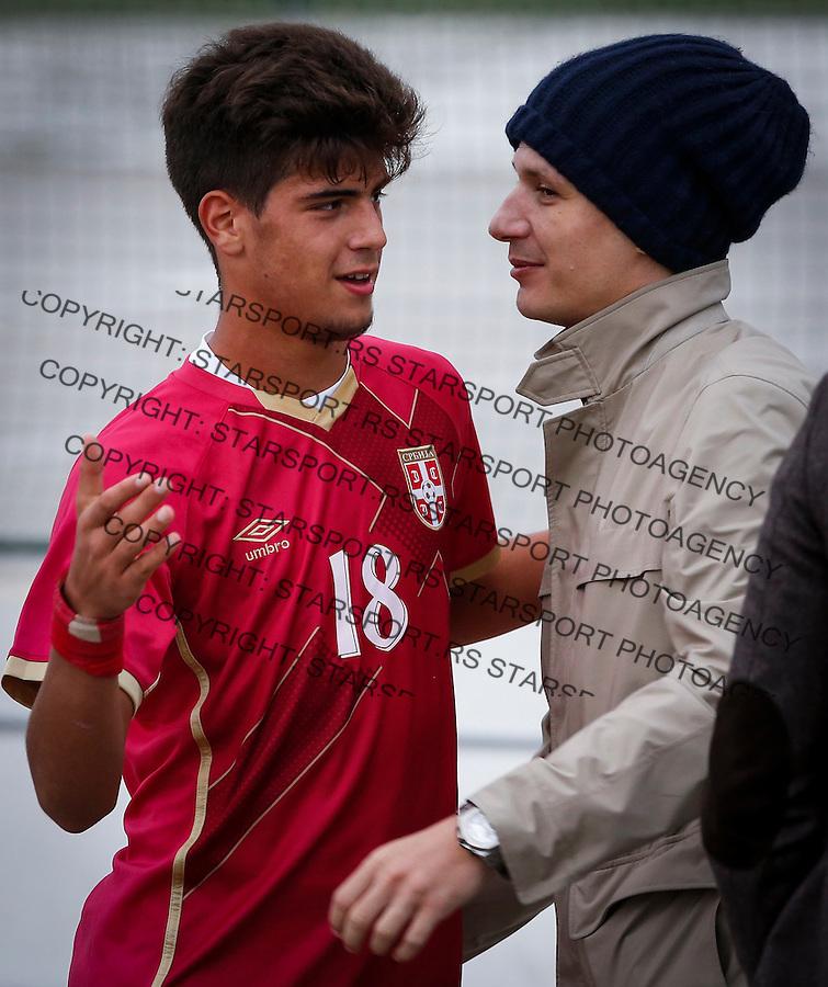 Fudbal Soccer<br /> International Friendly-Prijateljski mec<br /> Srbija U17 v Belorusiaj U17<br /> Stefan Stankovic (L) and Marko Pantelic<br /> Stara Pazova, 20.09.2016<br /> foto: Srdjan Stevanovic/Starsportphoto &copy;