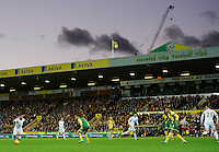 Wayne Routledge of Swansea City runs at the Norwich City defense during the Barclays Premier League match between Norwich City and Swansea City played at Carrow Road, Norwich on November 7th 2015
