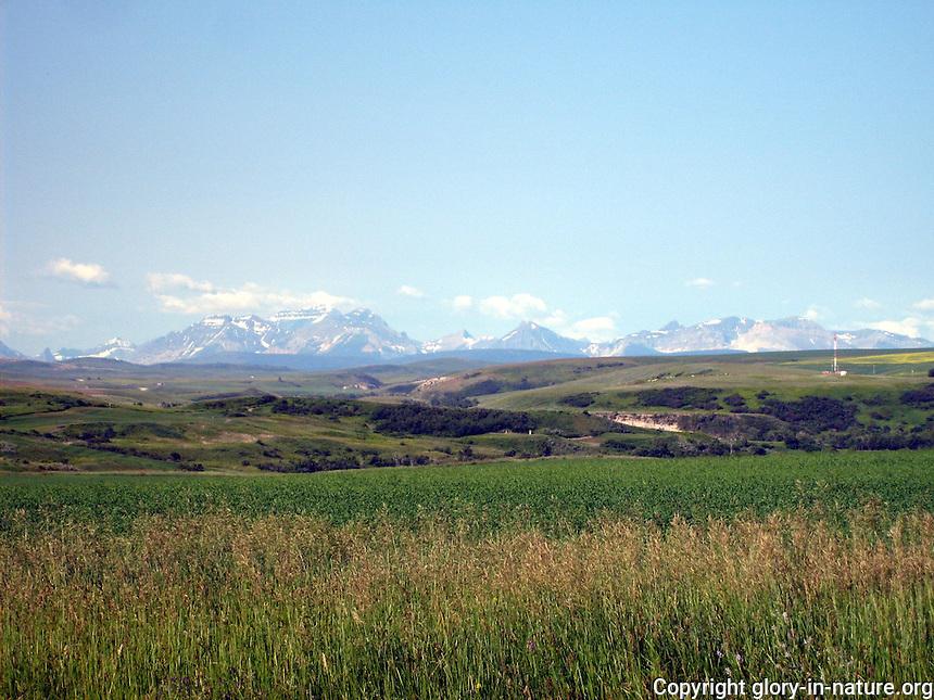 Scenic Rocky Mountain landscape in southern Alberta near the Montana border.