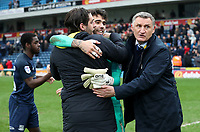Blackburn Rovers manager Tony Mowbray with Blackburn Rovers' Danny Graham and Blackburn Rovers' David Raya at the end of todays match<br /> <br /> Photographer Rachel Holborn/CameraSport<br /> <br /> The EFL Sky Bet League One - Blackburn Rovers v Southend United - Saturday 7th April 2018 - Ewood Park - Blackburn<br /> <br /> World Copyright &copy; 2018 CameraSport. All rights reserved. 43 Linden Ave. Countesthorpe. Leicester. England. LE8 5PG - Tel: +44 (0) 116 277 4147 - admin@camerasport.com - www.camerasport.com