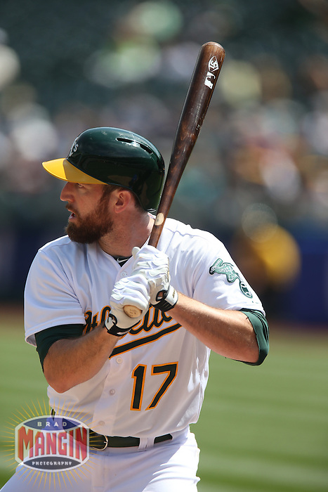 OAKLAND, CA - APRIL 9:  Ike Davis #17 of the Oakland Athletics bats against the Texas Rangers during the game at O.co Coliseum on Thursday, April 9, 2015 in Oakland, California. Photo by Brad Mangin