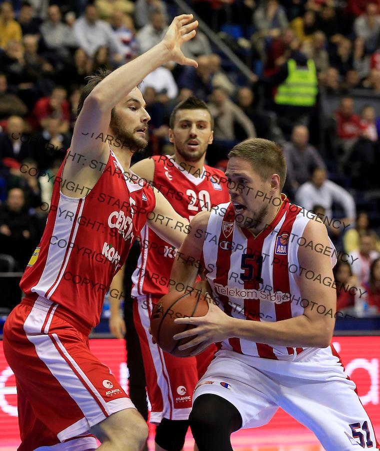 Kosarka ABA League season 2015-2016<br /> Crvena Zvezda v Cedevita<br /> Vladimir Stimac (R) and Miro Bilan<br /> Beograd, 04.01.2015.<br /> foto: Srdjan Stevanovic/Starsportphoto&copy;