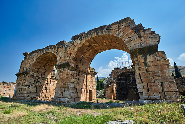 Picture of the Roman Basilica Baths. Hierapolis archaeological site near Pamukkale in Turkey.