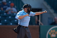 Home plate umpire Josh Gilreath calls a batter out on strikes during the South Atlantic League game between the West Virginia Power and the Greensboro Grasshoppers at First National Bank Field on August 9, 2018 in Greensboro, North Carolina. The Power defeated the Grasshoppers 5-3 in game one of a double-header. (Brian Westerholt/Four Seam Images)