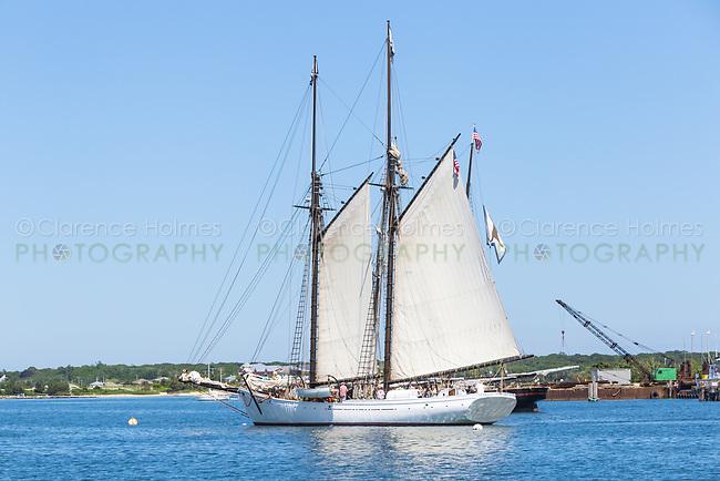 "Black Dog Tall Ships' ""Alabama"", a historic two-masted Gloucester fishing schooner, in Vineyard Haven harbor in Tisbury, Massachusetts on Martha's Vineyard"