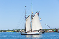 "Black Dog Tall Ships' ""Alabama"", a historic two-masted Gloucester fishing schooner, in Vineyard Haven harbor in Tisbury, Massachusetts on Martha's Vineyard"