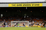 Port Vale 3 Doncaster Rovers 0, 22/08/2015. League One, Vale Park. A free kick from Aaron Taylor-Sinclair of Doncaster flies into the GMB Union Stand. Photo by Paul Thompson.