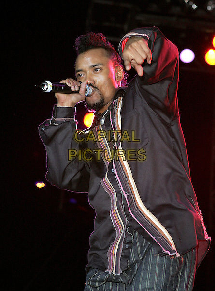 APL.DE.AP.The Black Eyed Peas perform to a massive crowd at The 20th Anniversary of The San Diego Street Scene held at Petco Park in Downtown San Diego, California .August 27, 2004.half length, stage, concert, gig, live, music, singing.www.capitalpictures.com.sales@capitalpictures.com.©Debbie VanStory
