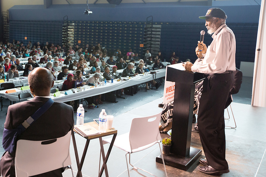 Dr. john a. powell, Haas Institute for Fair & Inclusive Society, UC Berkeley, speaks as part of the U.S. Regional World Meeting of Popular Movement's plenary panel on racism.