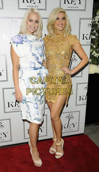 Kimberly Wyatt &amp; Ashley Roberts<br /> The KEY Fashion new online fashion boutique launch party, Vanilla, London, England.<br /> September 25th, 2013<br /> full length hand on hip gold dress white blue pattern print<br /> CAP/CAN<br /> &copy;Can Nguyen/Capital Pictures