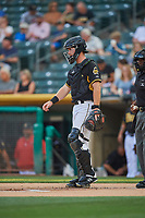 Stephen McGee (23) of the Salt Lake Bees on defense against the El Paso Chihuahuas at Smith's Ballpark on August 13, 2018 in Salt Lake City, Utah. Salt Lake defeated El Paso 4-3. (Stephen Smith/Four Seam Images)