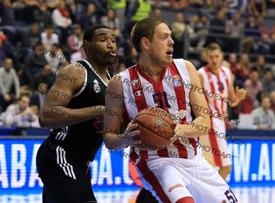 Kosarka ABA League season 2015-2016<br /> Crvena Zvezda v Partizan<br /> Vladimir Stimac and Kevin Jones (L)<br /> Beograd, 03.11.2015.<br /> foto: Srdjan Stevanovic/Starsportphoto&copy;