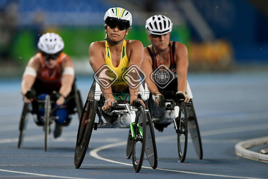 Madison de Rozario &ndash; Women&rsquo;s 1500m T54 <br /> Olympic Stadium / Day 5 Athletics<br /> 2016 Paralympic Games - RIO Brazil<br /> Australian Paralympic Committee<br /> Rio Brazil Monday 12  September 2016<br /> &copy; Sport the library / Jeff Crow