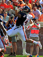 Virginia safety Quin Blanding (3) intercepts the ball in front of Richmond running back Seth Fisher (4) during the game Saturday Sept. 6, 2014 at Scott Stadium in Charlottesville, VA. Virginia defeated Richmond 45-13. Photo/Andrew Shurtleff