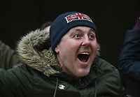 Preston supporter celebrates after his team scored to make it 0-1<br /> <br /> Photographer Jonathan Hobley/CameraSport<br /> <br /> The EFL Sky Bet Championship - Brentford v Preston North End - Saturday 10th February 2018 - Griffin Park - Brentford<br /> <br /> World Copyright &copy; 2018 CameraSport. All rights reserved. 43 Linden Ave. Countesthorpe. Leicester. England. LE8 5PG - Tel: +44 (0) 116 277 4147 - admin@camerasport.com - www.camerasport.com