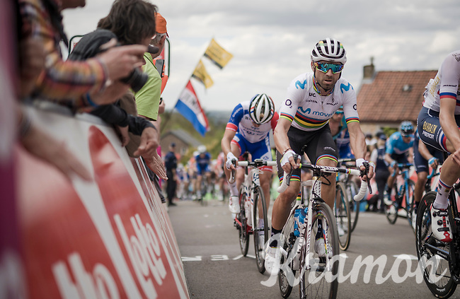 World Champion Alejandro Valverde (ESP/Movistar) up the infamous Mur de Huy<br /> <br /> 83rd La Flèche Wallonne 2019 (1.UWT)<br /> One day race from Ans to Mur de Huy (BEL/195km)<br /> <br /> ©kramon