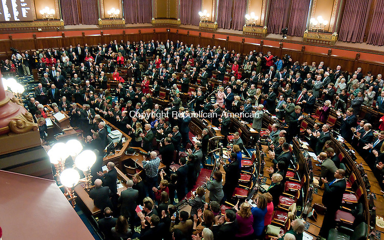 HARTFORD,  CT-010715JS09- Gov. Dannel P. Malloy gives his  State of the State Address during a joint session of the Connecticut General Assembly in the Hall of the House of Representatives Wednesday at the State Capitol in Hartford. <br />  Jim Shannon Republican-American