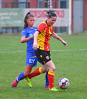 20200819, Sint-Amandsberg , GENT , BELGIUM : Gent's Lynsdey Van Belle (L) and Lens's midfielder Amelie Coquet (R) pictured during a friendly soccer game between KAA Gent ladies and RC Lens ladies in the preparations for the coming season 2020 - 2021 of Belgian Women's SuperLeague and French second division , Wednesday 19 th of August 2020 in JAGO Sint-Amandsberg / Gent, Belgium . PHOTO SPORTPIX.BE | STIJN AUDOOREN