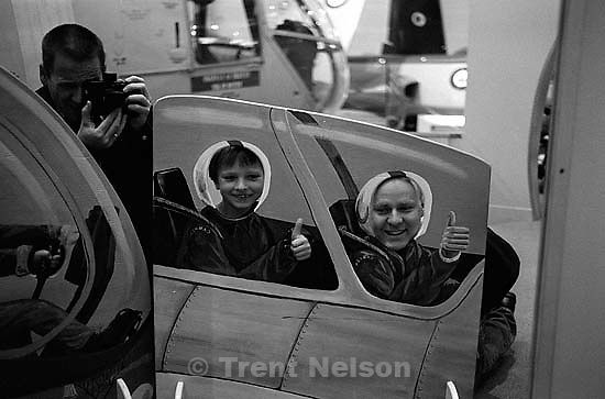 Trent Nelson, Noah Nelson, Nathaniel Nelson, Bergen Wilde at aviation museum<br />