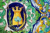 Colourful tiles in La Laguna, central square in Ayamonte, Spain.