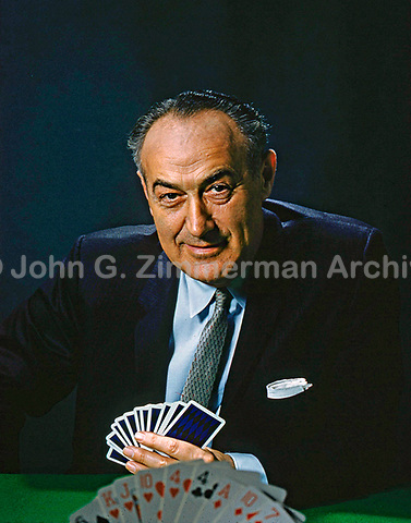 "Portrait of Charles Goren, the leading American bridge personality in the 1950s and 1960s. His television program, ""Championship Bridge with Charles Goren,"" was broadcast from 1959 to 1964 on the ABC network. It featured numerous appearances by top players and segments with celebrity guests such as Chico Marx, Alfred Drake, and Forest Evashevski, among others. Photo by John G. Zimmerman, 1961."