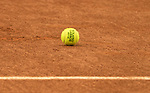May 23,2016:   Roland Garros tennis ball on clay court  ©Leslie Billman/Tennisclix CSM