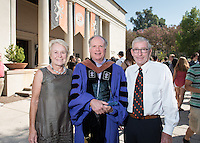 Linda and Tod White '59 pose with art history and the visual arts professor Eric Frank, recipient of the Linda and Tod White Teaching Prize. 508 members of the Class of 2020 are welcomed to Occidental College by trustees, faculty and staff in Thorne Hall on Aug. 30, 2016 during Oxy's 129th Convocation ceremony, a tradition that formally marks the start of the academic year and welcomes the new class.<br /> (Photo by Marc Campos, Occidental College Photographer)