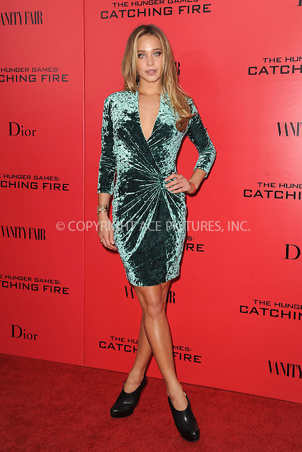 WWW.ACEPIXS.COM<br /> November 20, 2013...New York City<br /> <br /> Hannah Davis attends a premiere of 'The Hunger Games: Catching Fire' on November 20, 2013 in New York City.<br /> <br /> Byline: Kristin Callahan/Ace Pictures<br /> <br /> ACE Pictures, Inc.<br /> tel: 646 769 0430<br />       212 243 8787<br /> e-mail: info@acepixs.com<br /> web: http://www.acepixs.com