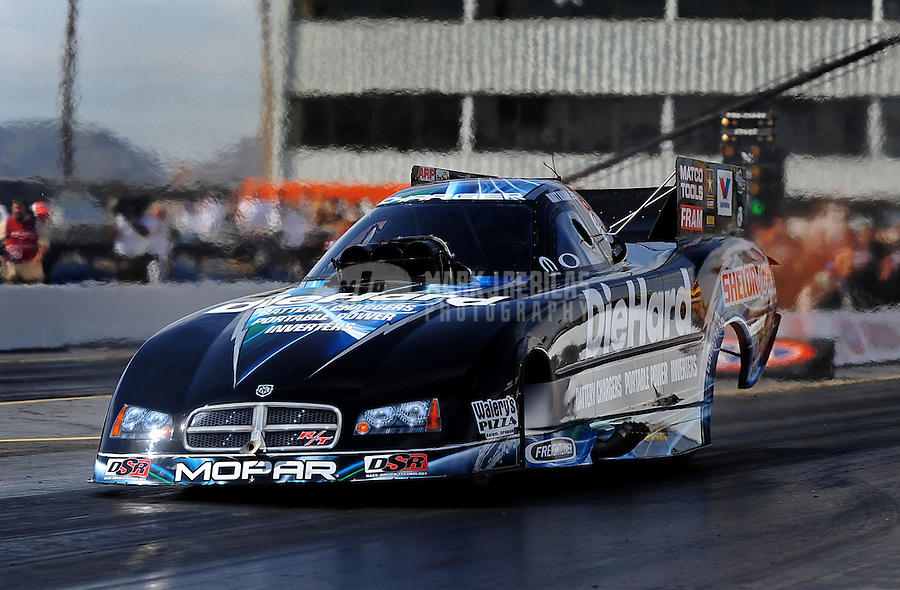 Feb. 19, 2010; Chandler, AZ, USA; NHRA funny car driver Matt Hagan during qualifying for the Arizona Nationals at Firebird International Raceway. Mandatory Credit: Mark J. Rebilas-