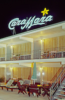 Cara Mara Motel Wildwood, NJ Large Neon Sign and patio area.