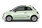 Car Driver side profile view of a 2016 Fiat 500 Lounge 3 Door Hatchback Side View
