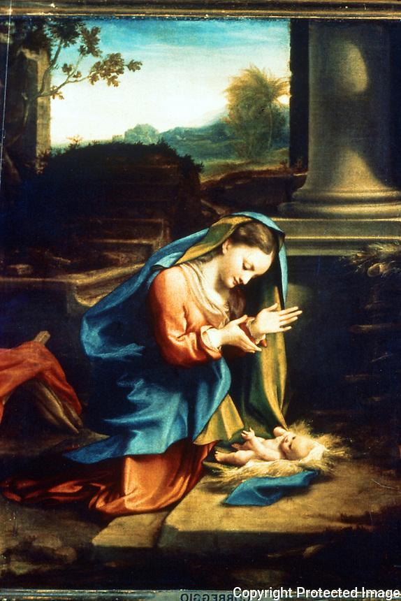 Renaissance Art:  Correggio (1494-1534)--Our Lady Worshipping the Child.  Galleria Uffizi.