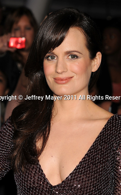 """LOS ANGELES, CA - NOVEMBER 14: Elizabeth Reaser arrives at the Los Angeles premiere of """"The Twilight Saga: Breaking Dawn Part 1"""" held at Nokia Theatre L.A. Live on November 14, 2011 in Los Angeles, California."""