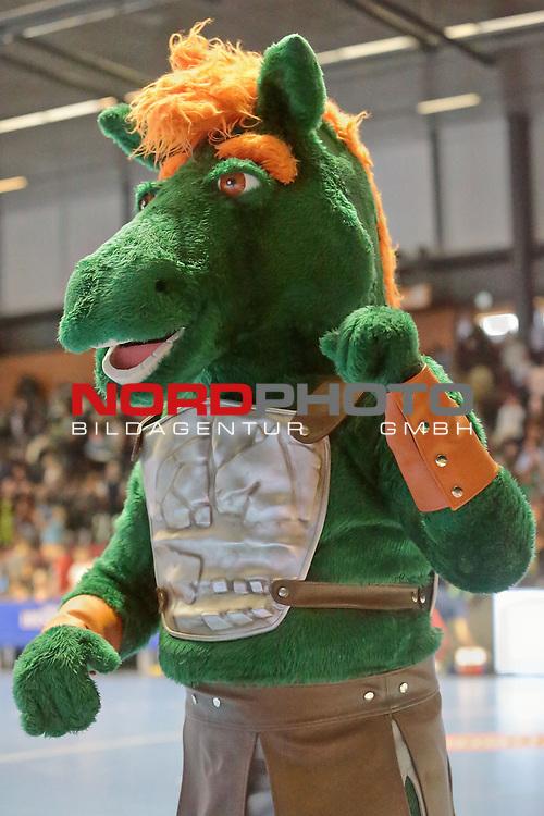 05.99.2015 , Sportarena, Hannover, GER,  DKB Handball-Bundesliga 15/16, TSV Hannover-Burgdorf vs Bergischer HC . <br /> <br /> TSV Maskotchen Hektor<br /> <br /> <br /> <br />   Foto &copy; nph / Rust