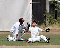 Andy Symes of Ardleigh Green is caught by the wicket keeper after edging this delivery bowled by Danny Durham - Hornchurch CC 3rd XI vs Ardleigh Green CC 3rd XI, Essex Club Cricket at Fielders Sports Ground, Hornchurch - 03/07/10 - MANDATORY CREDIT: Rob Newell/TGSPHOTO - Self billing applies where appropriate - 0845 094 6026 - contact@tgsphoto.co.uk - NO UNPAID USE.