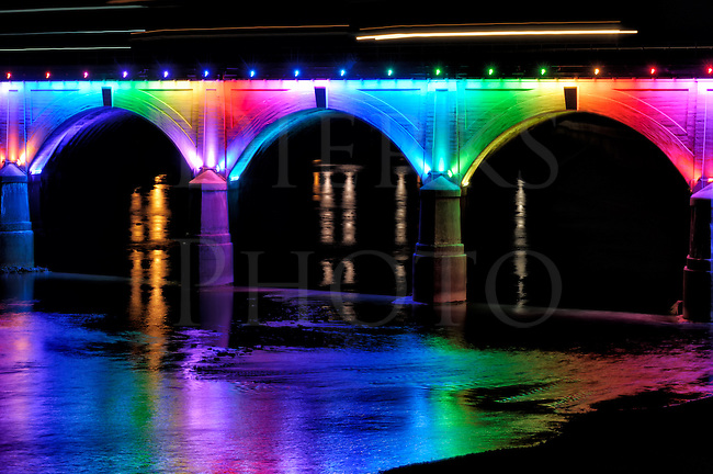 This illuminated bridge in downtown Johnstown PA is beautifully lit full length every night by a colored LED light display. The colors change slowly and different ones are used for an occasion, such as green and red for Christmas and black and gold for Steelers football games.&nbsp;<br />