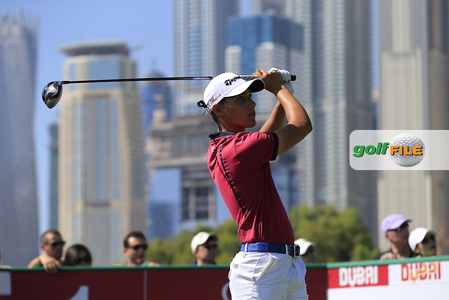 Dominic Foos (GER) tees off the 1st tee to start his game during Pink Friday's Round 2 of the 2015 Omega Dubai Desert Classic held at the Emirates Golf Club, Dubai, UAE.: Picture Eoin Clarke, www.golffile.ie: 1/30/2015