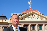 Phoenix, Arizona (March 16, 2014) -- Senator Steve Gallardo standing in front of the Arizona State Capitol in Phoenix, Arizona. Photo Eduardo Barraza © 2014