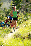 A group of trail runners participating the the Echo Valley Trail Run at Echo Ridge in Chelan, Washington, USA