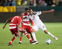 CARSON, CA – NOVEMBER 14: FC Dallas defender Jackson Goncalves (6) and LA Galaxy defender Alex Cazumba (88) during the Western Conference Final soccer match at the Home Depot Center, November 14, 2010 in Carson, California. Final score LA Galaxy 0, Dallas FC 3.