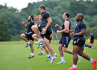 Stuart Hooper and other Bath players in action. Bath Rugby pre-season training on July 8, 2014 at Farleigh House in Bath, England. Photo by: Patrick Khachfe/Onside Images