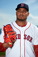 Salem Red Sox pitcher Darwinzon Hernandez (18) poses for a photo before a game against the Lynchburg Hillcats on May 10, 2018 at Haley Toyota Field in Salem, Virginia.  Lynchburg defeated Salem 11-5.  (Mike Janes/Four Seam Images)