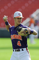 Infielder Eli White (4) of the Clemson Tigers prior to a fall Orange & Purple intrasquad scrimmage on November 2, 2013, at Fluor Field at the West End in Greenville, South Carolina. Orange won 7-1.(Tom Priddy/Four Seam Images)